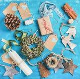 Венок и материалы малого рождества декоративный для делать украшение Стоковые Изображения RF