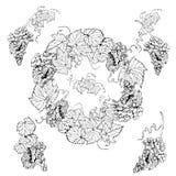 Венок и одиночные элементы banches виноградины Ягоды виноградин с листьями Эскиз Monochrome руки вычерченный иллюстрация вектора