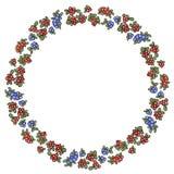 Венок красных и голубых ягод зимы красочный Орнамент вектора бесплатная иллюстрация