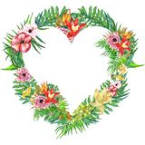 Венок листьев и цветков акварели тропический! Карточка акварели экзотическая флористическая Вручите покрашенную троповую рамку с  Стоковые Фотографии RF