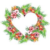 Венок листьев и цветков акварели тропический! Карточка акварели экзотическая флористическая Вручите покрашенную троповую рамку с  Стоковое фото RF