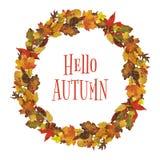 Венок листьев осени акварели Стоковое Фото