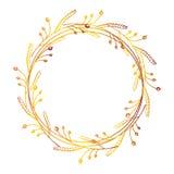 Венок нарисованный рукой флористический Стоковая Фотография RF