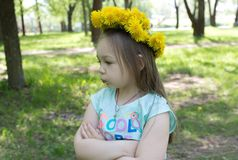 Венок одуванчиков на голове девушки Стоковое фото RF