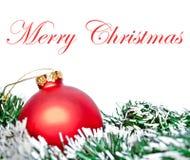 венок орнамента рождества шарика красный Стоковые Фотографии RF