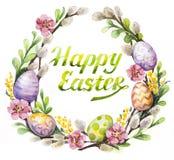 Венок пасхи с пасхальными яйцами и цветками Стоковая Фотография