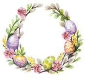 Венок пасхи с пасхальными яйцами и цветками Стоковые Фотографии RF