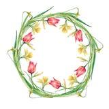 Венок пасхи цветков и хворостин белизна изолированная предпосылкой Стоковые Фотографии RF