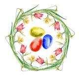 Венок пасхи цветков и хворостин с пасхальными яйцами белизна изолированная предпосылкой Стоковые Фото