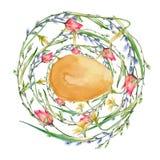 Венок пасхи цветков и хворостин с пасхальными яйцами белизна изолированная предпосылкой Стоковая Фотография RF