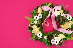 Венок праздника рождества с печеньями Стоковое Изображение RF