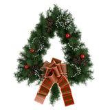 Венок пришествия рождества треугольника изолированный на белизне Стоковое Фото