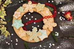 Венок пряника рождества стоковые фотографии rf