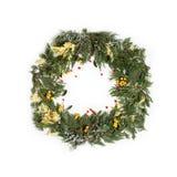 Венок рамки рождества с вечнозеленой елью Стоковые Фотографии RF
