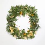 Венок рамки рождества с вечнозелеными елью и ягодами Стоковые Изображения
