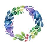 Венок рождества акварели зеленых ветви, листьев и ягоды иллюстрация вектора