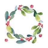 Венок рождества акварели зеленых ветви, листьев и ягоды иллюстрация штока