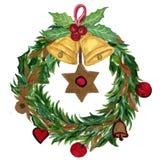 Венок рождества акварели красного золота ленты аксессуаров шарика иллюстрация вектора