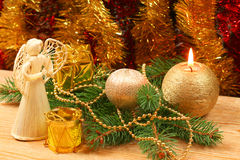 венок рождества ангела золотистый Стоковые Фотографии RF