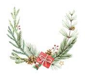 Венок рождества вектора акварели с ветвями и местом ели для текста Стоковое Фото