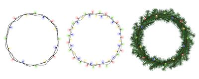 Венок рождества вектора установил с элементами зимы флористическими Поздравительная открытка сезона также вектор иллюстрации прит иллюстрация вектора