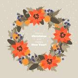 Венок рождества ветвей, конусов, цветков и ягод ели стоковые изображения rf