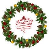 Венок рождества красочный с падубом, конусами сосны, шариками и ветвями рождественской елки бесплатная иллюстрация