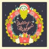 Венок рождества ретро стиля Рождество и Новые Годы иллюстрации праздников нарисованной рукой стоковая фотография rf
