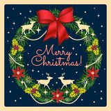 Венок рождества ретро стиля с северным оленем Рождество и Новые Годы иллюстрации праздников нарисованной рукой стоковое изображение rf