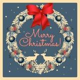Венок рождества ретро стиля с северным оленем Рождество и Новые Годы иллюстрации праздников нарисованной рукой стоковое фото rf