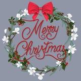 Венок рождества с белыми цветками и красным смычком иллюстрация вектора