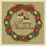 Венок рождества с коньками ретро стиля Рождество и Новые Годы иллюстрации праздников нарисованной рукой стоковая фотография