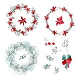 Венок рождества с красными цветками и ягодами бесплатная иллюстрация