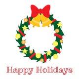 Венок рождества с лентой, шариками и красным смычком иллюстрация штока