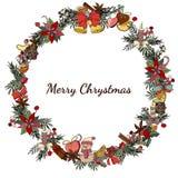 Венок рождества с poinsettia и ягодами Шаблон для сезона и дизайна рождества, поздравительных открыток, приглашений и иллюстрация штока