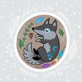 Венок рождества с slepping волком Иллюстрация мультфильма руки вычерченная бесплатная иллюстрация