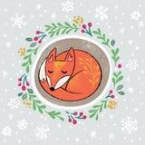 Венок рождества с slepping лисой Иллюстрация мультфильма руки вычерченная иллюстрация вектора