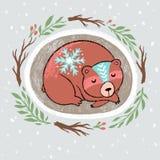 Венок рождества с slepping медведем Иллюстрация мультфильма руки вычерченная бесплатная иллюстрация