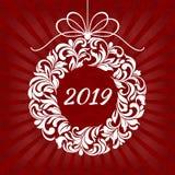 Венок рождества флористический с 2019 на красной предпосылке с лучами иллюстрация вектора