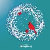 венок рождества 3D Origami с красной ягодой кардинала и рябины Ветвь дерева отрезка бумаги биографической счастливое Новый Год Зи иллюстрация штока