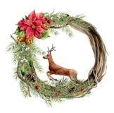 Венок рождества акварели с флористическими оформлением и оленями Новый Год иллюстрация штока
