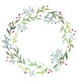 Венок рождества акварели флористический иллюстрация вектора