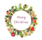 Венок рождества - ель разветвляет, птица, candycane, присутствующая коробка акварель Стоковая Фотография RF