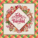 Венок рождества Зима забавляется - Санта Клаус, Щелкунчик, северный олень, подарочная коробка Стоковые Изображения