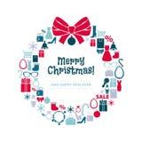 Венок рождества значков покупок задняя часть белизны Стоковая Фотография RF