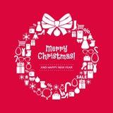 Венок рождества значков покупок Задняя часть красного цвета Стоковые Изображения