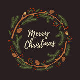 Венок рождества нарисованный рукой с конусами Стоковая Фотография