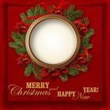 Венок рождества на красной винтажной предпосылке с фото-рамкой Стоковое Изображение RF
