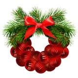 Венок рождества от хворостин сосны, декоративные шарики и шелк обхватывают Стоковое Фото