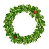 Венок рождества падуба - зеленых лист Стоковое Изображение